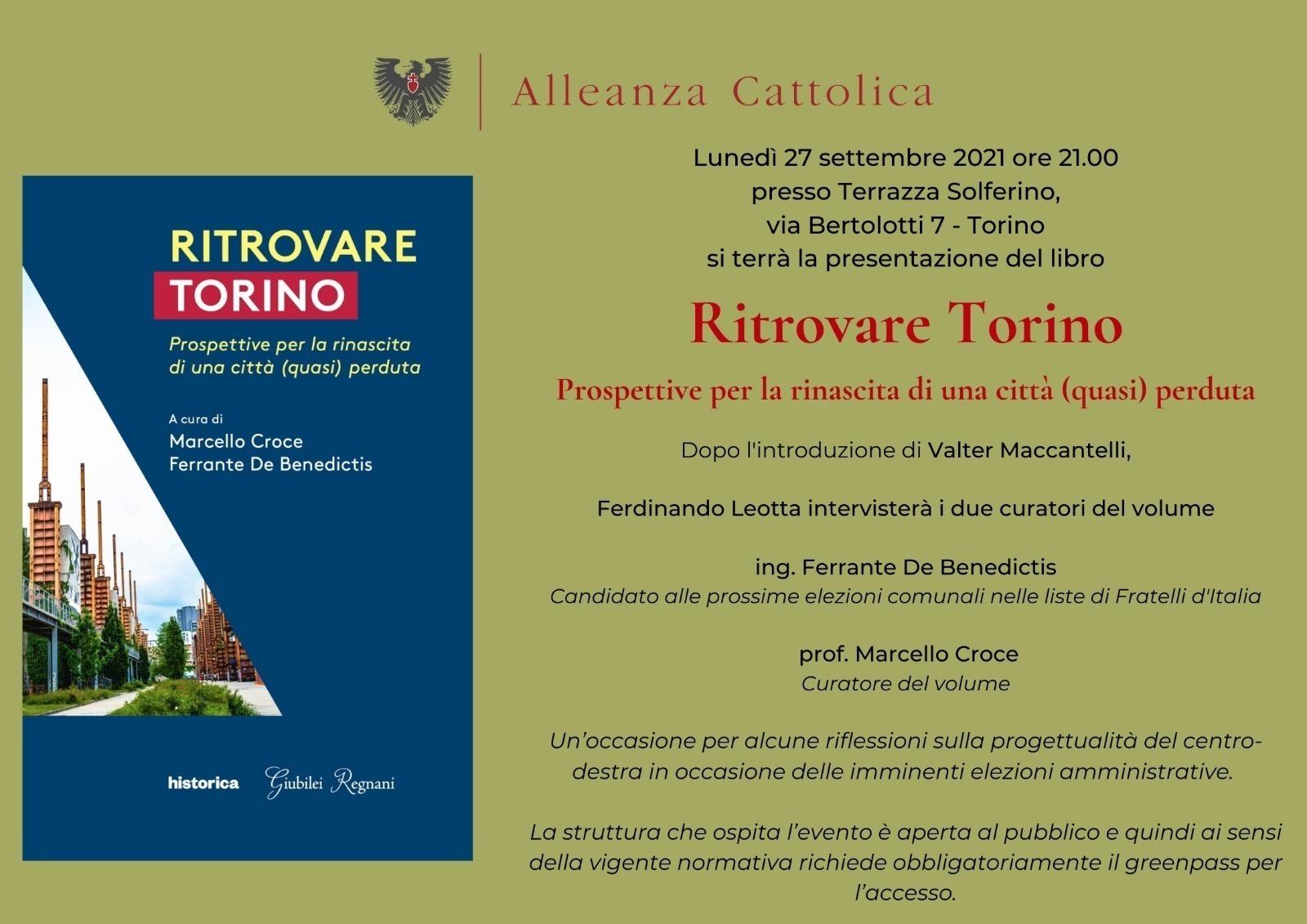 """Locandina presentazione libro """"Ritrovare Torino"""""""